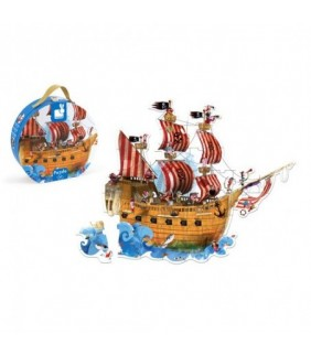 4-7 AÑOS.Puzle Gigante Barco de Piratas.39 pzas.