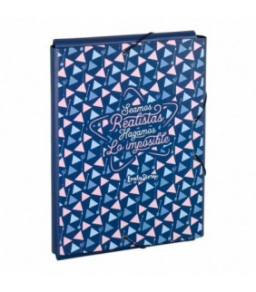Carpeta goma 3 solapas Azul marino Triangulos