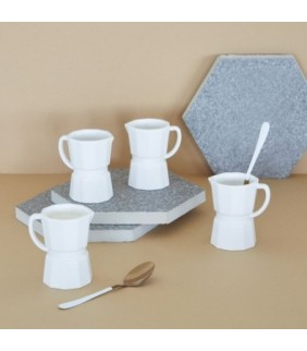 Set Tazas Espresso Moka Color Blanco Mate Conjunto
