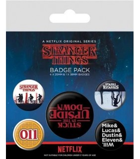 Set chapas Stranger Things del revés